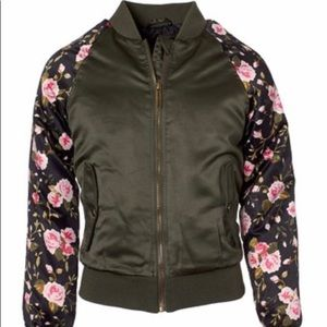 Limited Too Olive Floral Sateen Bomber